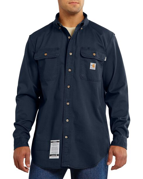 Carhartt Men's Long Sleeve FR Oakman Work Shirt, Navy, hi-res