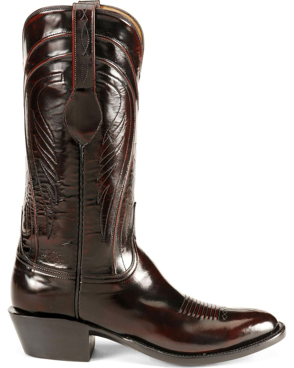 Lucchese Handcrafted Classics Seville Goatskin Boots - Medium Toe, Black Cherry, hi-res