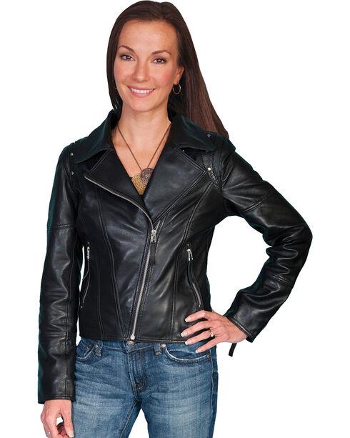 Scully Dyed Lamb Motorcycle Jacket, Black, hi-res
