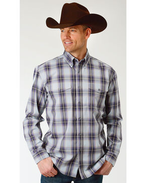 Roper Men's Winter Plum Plaid Long Sleeve Button Down Shirt - Big, Blue, hi-res
