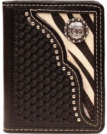 Nocona Zebra Print Hair-on Hide Inlay w/ Cowboy Prayer Concho Bi-fold Wallet, , hi-res