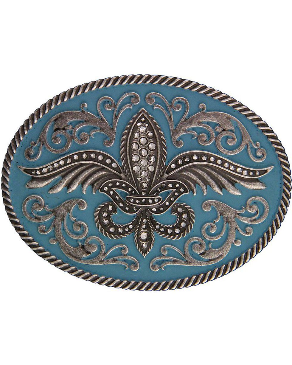 Rock 47 by Montana Silversmiths Winged Fleur de lis Belt Buckle, Silver, hi-res