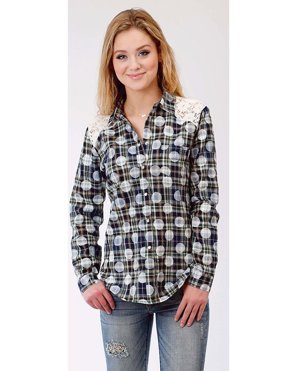 Roper Women's Long Sleeve Polka Dot Plaid Western Snap Shirt, Multi, hi-res