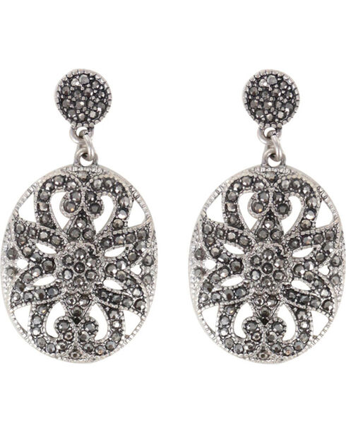 Shyanne® Women's Rhienstone Filigree Earrings, Silver, hi-res