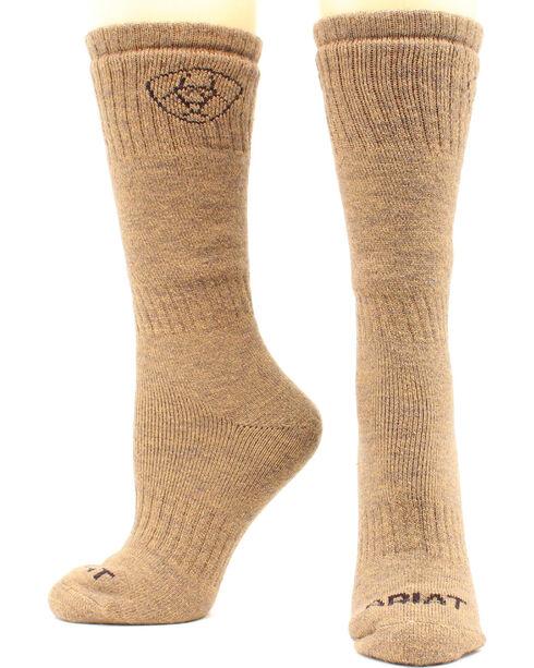 Ariat Men's Merino Hunting Socks - Two Pack, Brown, hi-res