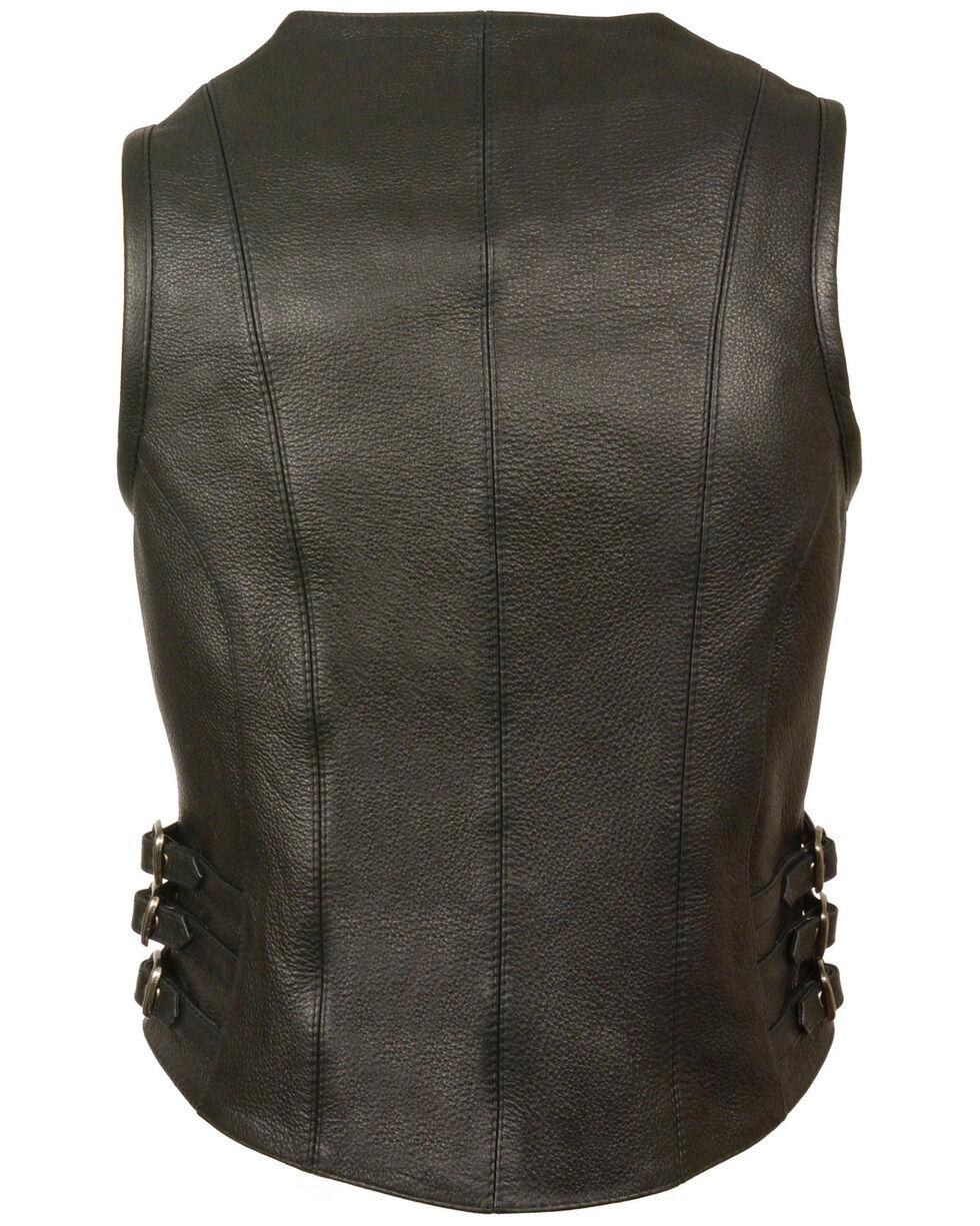 Milwaukee Leather Women's V Neck Zipper Front Side Buckle Vest - 3X, Black, hi-res