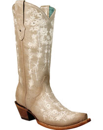 Corral Women's Bone Floral Embroidery & Crystals Cowgirl Boots - Snip Toe, , hi-res