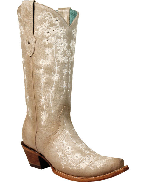 Corral Women's Bone Floral Embroidery & Crystals Cowgirl Boots - Snip Toe, Beige/khaki, hi-res