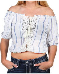 Angie Women's Off the Shoulder Crochet Lace Top, , hi-res