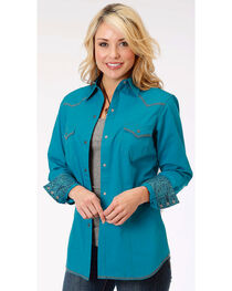 Roper Women's Blue Long Sleeve Western Style Snap Shirt, , hi-res
