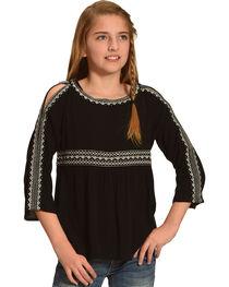 Miss Me Girls' Black Cold Shoulder Embroidered Top , , hi-res