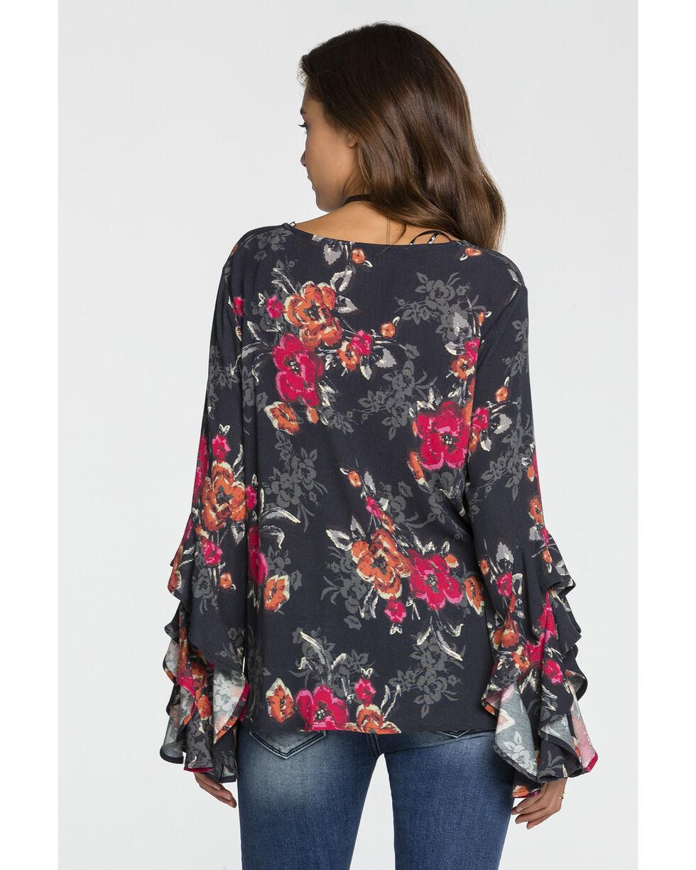 Miss Me Women's Criss Cross Neck Floral Top, Charcoal, hi-res