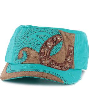 Savana Women's Horseshoe Military Cap, Turquoise, hi-res