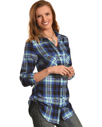 Derek Heart Women's Steer Print Blue Plaid Tunic, , hi-res
