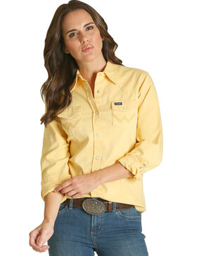 Wrangler Women's Yellow Western Long Sleeve Shirt , Yellow, hi-res