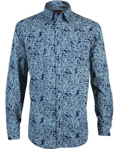 Roper Men's Paisley Long Sleeve Shirt , Blue, hi-res