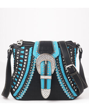 Shyanne Women's Rhinestone Buckle Whipstitch Messenger Bag – Black/Turquoise, Black, hi-res
