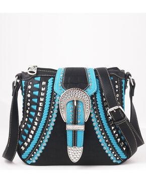 Shyanne Women's Rhinestone Buckle Whipstitch Messenger Bag – Black/Turquoise, Black, hi-res