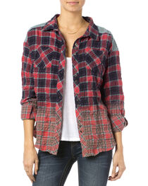Miss Me Red Plaid Wrinkle Crochet Shirt  , , hi-res