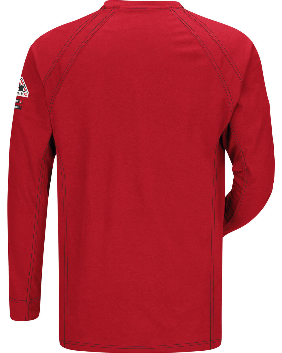 Bulwark Men's Red iQ Series Flame Resistant Henley Shirt , Red, hi-res