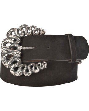 Lucchese Women's Black Suede Snake Buckle Belt , Black, hi-res