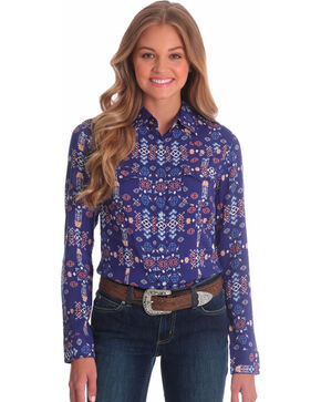 Wrangler Women's Aztec Print Long Sleeve Western Shirt, Navy, hi-res
