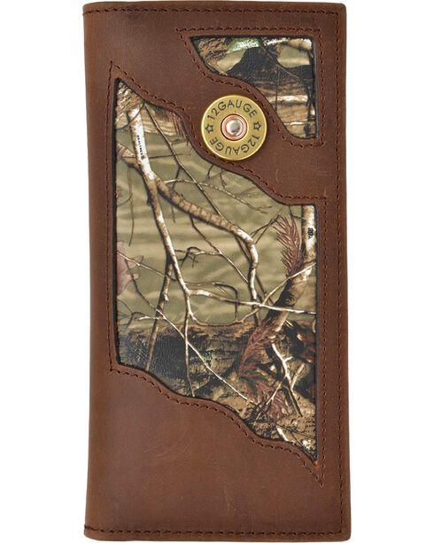 3D Men's Leather Shotgun Shell Checkbook Wallet, Camouflage, hi-res