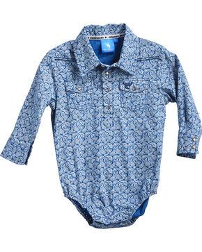 Cowboy Hardware Infant Boys' Blue Paisley Print Onesie , Blue, hi-res