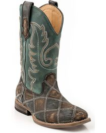 Roper Kid's Patchwork Square Toe Western Boots, , hi-res
