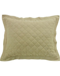 HiEnd Accents Diamond Pattern Quilted Khaki Linen Standard Sham, , hi-res