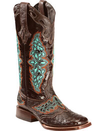 Lucchese Women's Amberlyn Full Quill Ostrich Exotic Boots, , hi-res