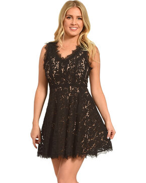 Black Swan Women's Scallop Neckline Lace Dress , Black, hi-res