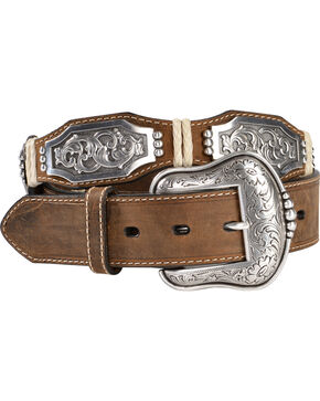 Ariat Scalloped Long Concho Belt, Brown, hi-res