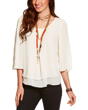 Ariat Women's Bandi Long Sleeve Blouse, Ivory, hi-res