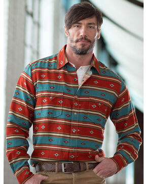 Ryan Michael Men's Serape Stripe Print Shirt, Chili, hi-res