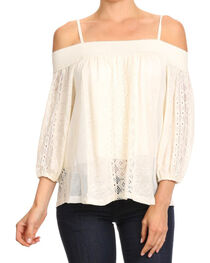 Freeway Apparel Women's Off The Shoulder Spaghetti Strap Top , , hi-res