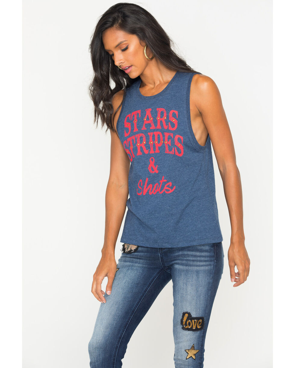 Z Supply Women's Stars, Stripes, & Shots Graphic Tank, Black, hi-res