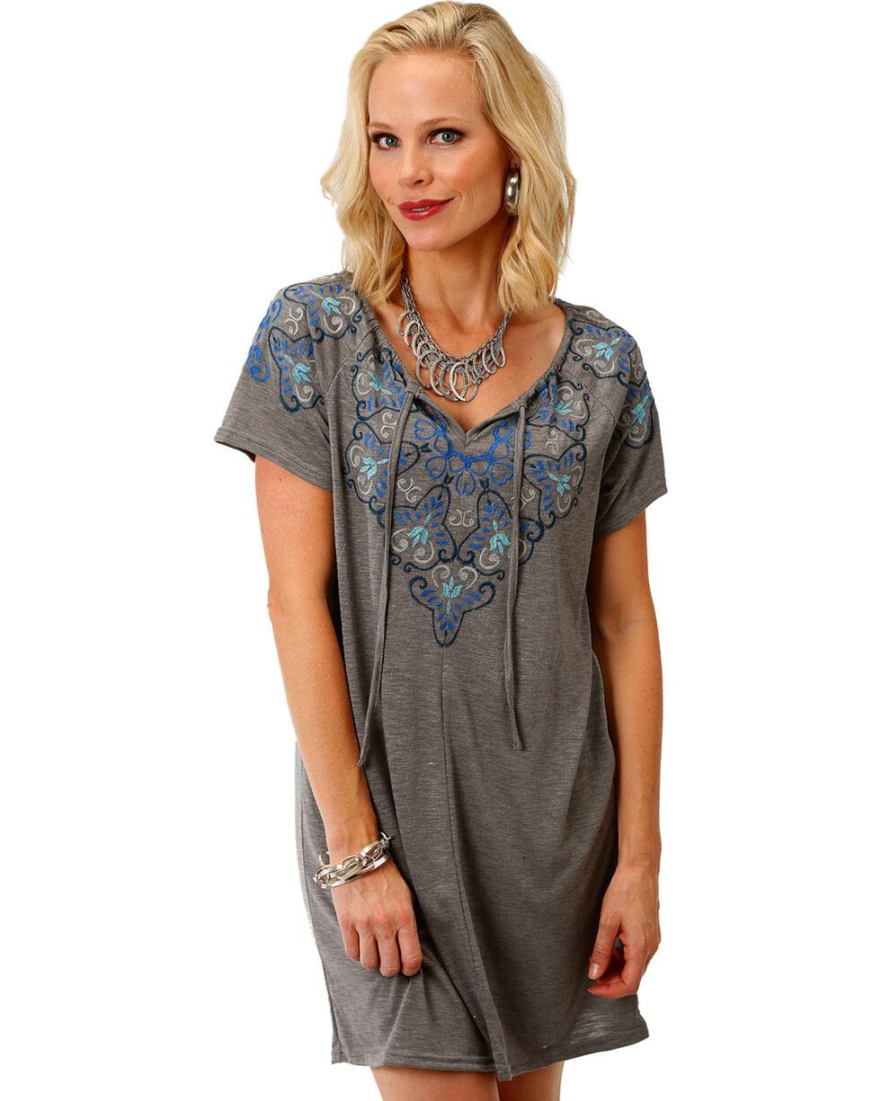 Roper Women's Embroidered Tie Neck Peasant Dress, Grey, hi-res