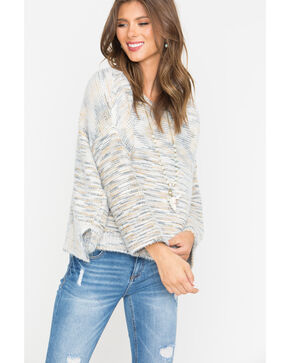Shyanne Women's Marble Knitted Pullover Sweater, Ivory, hi-res