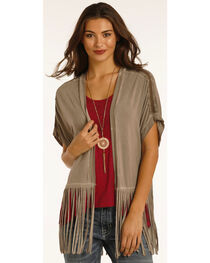 Rock & Roll Cowgirl Women's Brown Open Front Fringe Cardigan, , hi-res