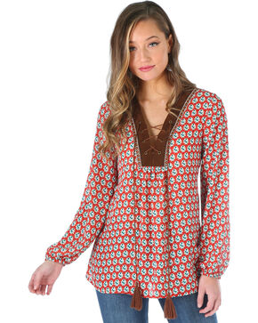 Wrangler Women's Long Sleeve Lace Front Tunic, Multi, hi-res