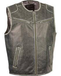 Milwaukee Leather Men's Vintage Distressed Zipper Front Vest - Big - 5X, Grey, hi-res