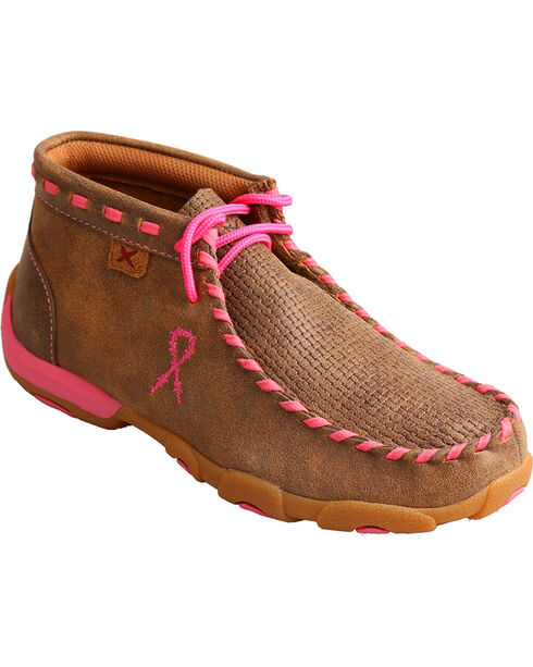 Twisted X Boots Youth Breast Cancer Awareness Driving Mocs, Brown, hi-res