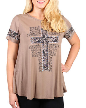 Vocal Women's Plus Rhinestone Cross Short Sleeve Top, Beige/khaki, hi-res