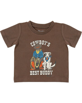Wrangler Infant Boys' Brown Best Buddy Tee, Brown, hi-res