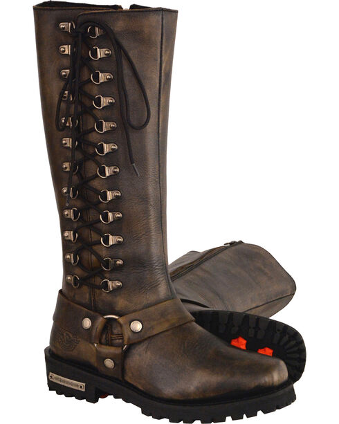 """Milwaukee Leather Women's Black Waterproof 14"""" Harness Boots - Square Toe , Black, hi-res"""
