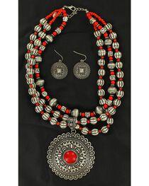 Blazin Roxx Round Concho Coral Stone Necklace & Earrings Set, , hi-res