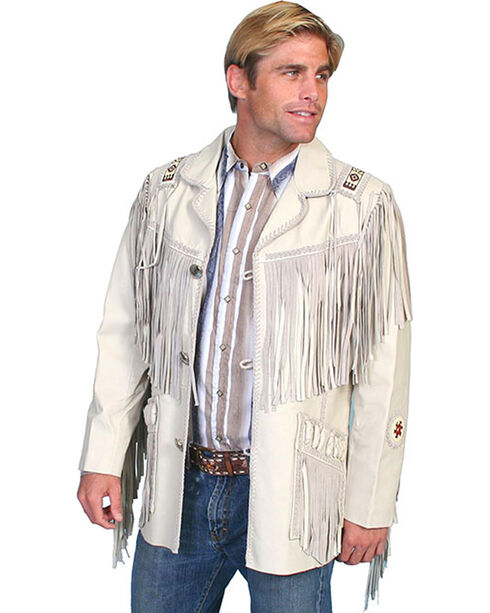 Scully Men's Hand Laced Bead Trim Coat, Cream, hi-res