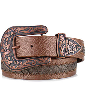 Shyanne® Women's Braided Inlay Leather Belt, Brown, hi-res
