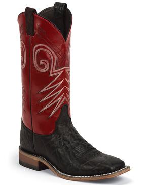 Justin Men's Bent Rail Western Boots, Black, hi-res